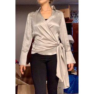Ann Taylor silver silk wrap blouse